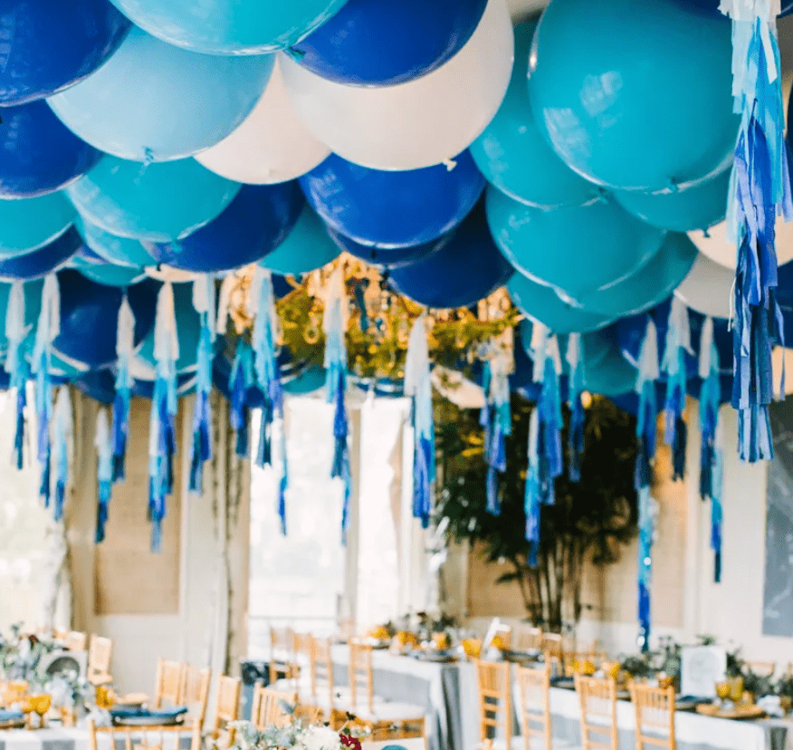 Ceiling filled with blue balloons