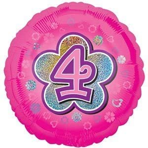 Pink Balloon with 4 on a Flower