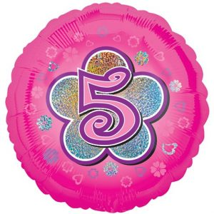 Pink Balloon with 5 on a Flower