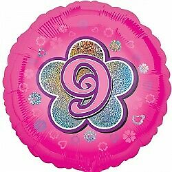 Pink Balloon with 9 on a Flower
