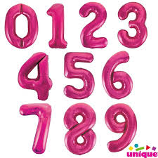 "Pink 34"" Unique Numbers"