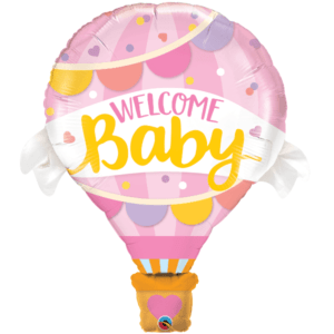 Welcome Baby Pink Hot Air Balloon