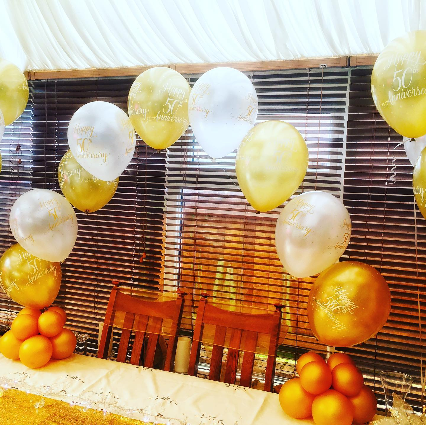 Golden Anniversary Balloon Arch