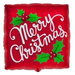Red Merry Christmas Square Foil