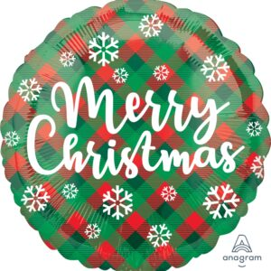 Merry Christmas Red and Green Plaid Foil
