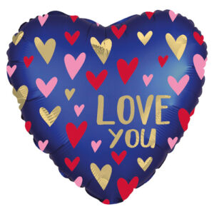 Love You Navy Heart Foil 18""