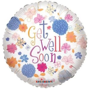"Get Well Soon Flowers 18"" Foil"