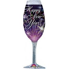Happy New Year Purple Champagne Glass