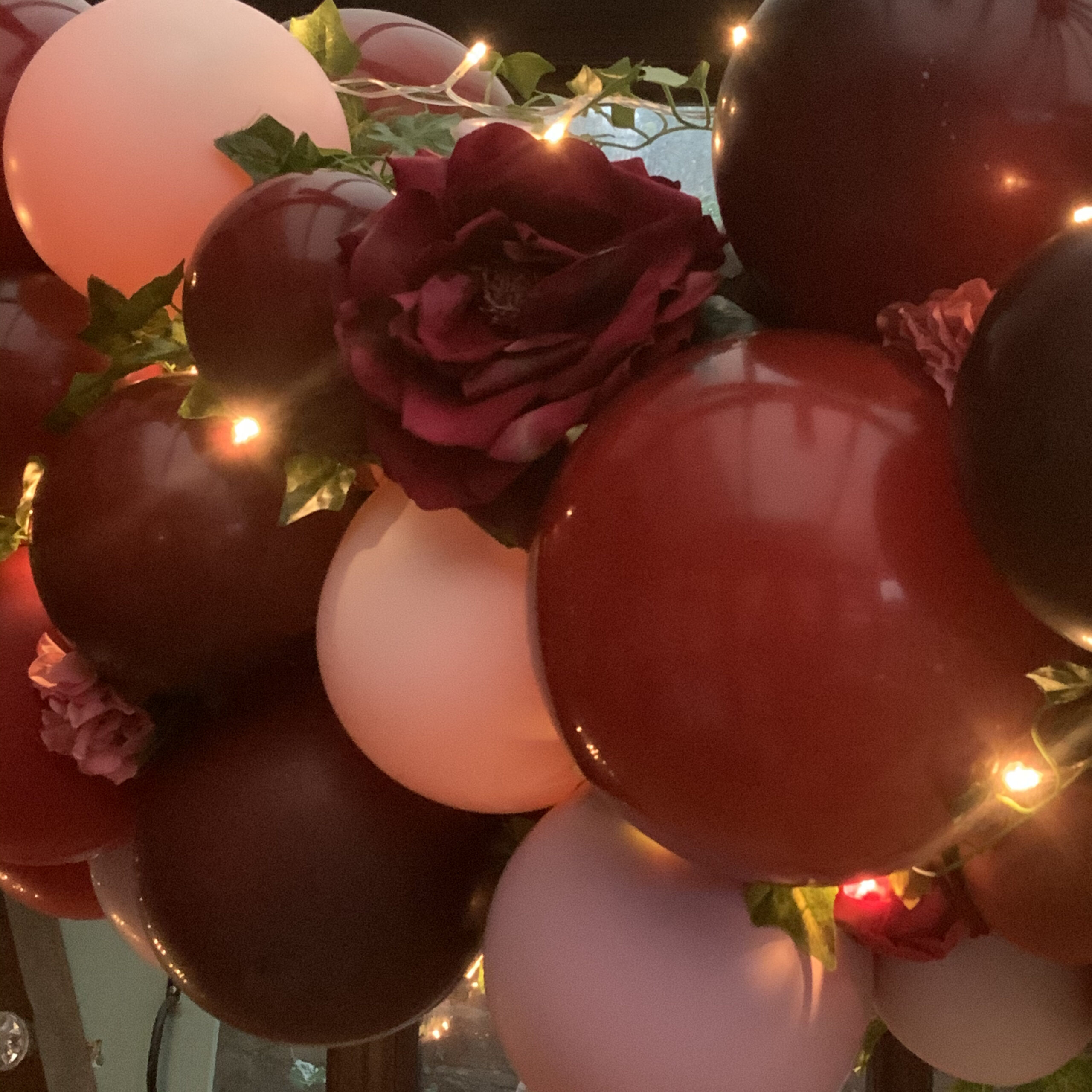 Burgundy and pink garland