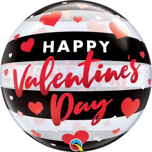 Valentine's Black and White Stripe Bubble