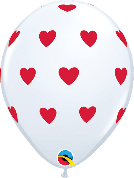 """White with Red Hearts 11"""" Latex"""
