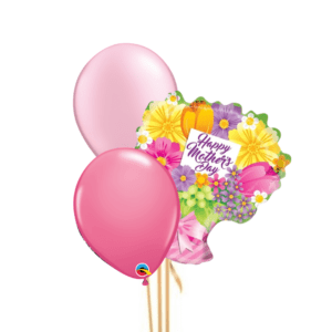 Mother's Day Pink Floral 3 Balloon Bouquet