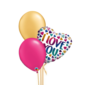 Rainbow Hearts 3 Balloon Bouquet