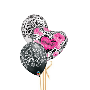 3 Balloon Mother's Day Damask Bouquet